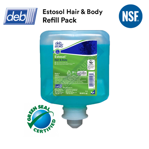 DEB Estosol Hair & Body Shampoo Refill Pack 1L, Hygiene Solution, DEB - Topware Solutions