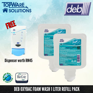 [ Made in Australia ] DEB Oxybac Foam Hand Soap Refill Pack 1L with Free Dispenser, Hygiene Solution, DEB - Topware Solutions