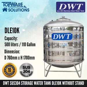 [SUS304] DWT Stainless Steel Storage Water Tank ( With Stand Round Bottom), Water Tank, DWT - Topware Solutions