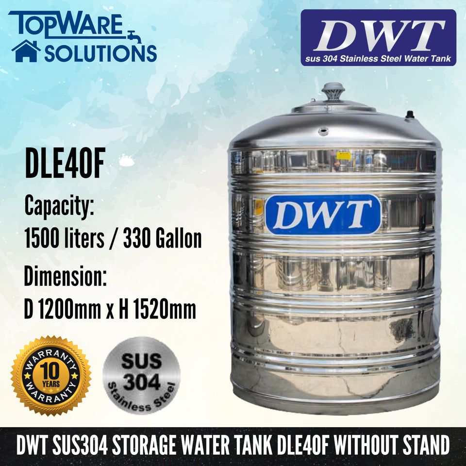 [SUS304] DWT Stainless Steel Storage Water Tank ( Without Stand Flat Bottom ), Water Tank, DWT - Topware Solutions