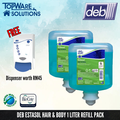 DEB Estosol Hair and Body Shampoo Refill Pack 1L with Free Dispenser, Hygiene Solution, DEB - Topware Solutions