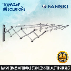 FANSKI BM42518 Stainless Steel Retractable Clothes Hanger (4 Bar), Clothes Hangers, FANSKI - Topware Solutions