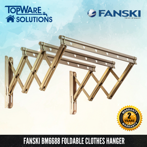 FANSKI BM6688 Aluminium Retractable Clothes Hanger (3 Bar), Clothes Hangers, FANSKI - Topware Solutions