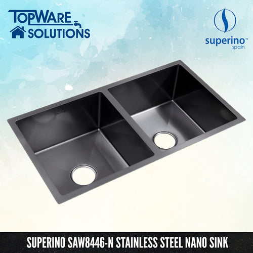 SUPERINO Stainless Steel NANO GREY Sink SAW8446-N, Kitchen Sinks, SUPERINO - Topware Solutions