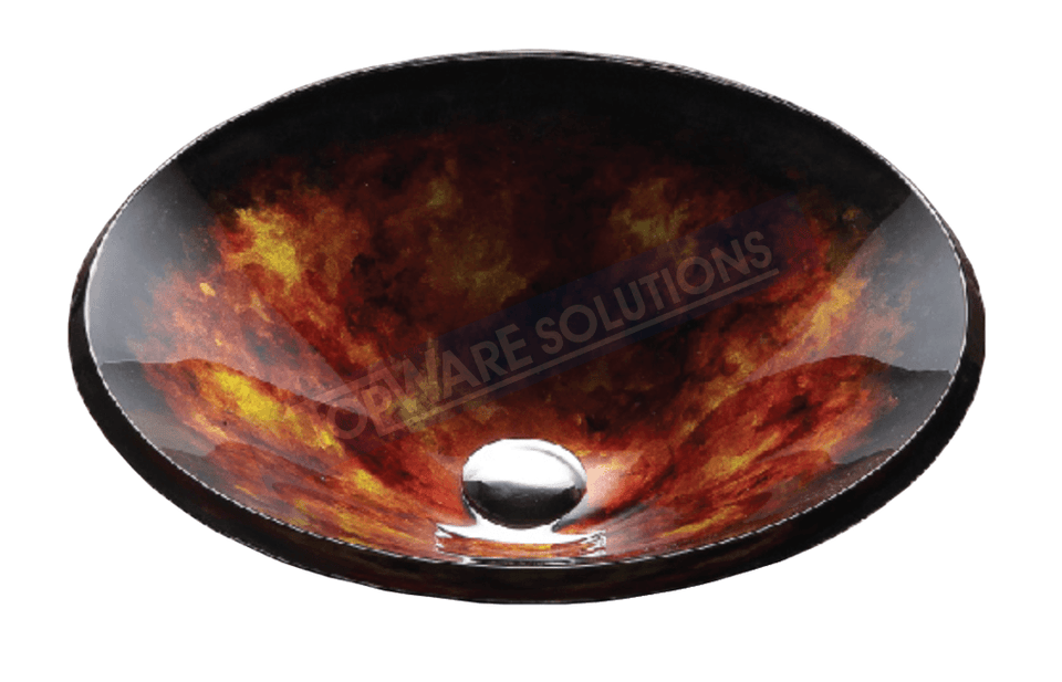 FANSKI Art Glass Counter Top Basin GS55-RAC02, Bathroom Basins, FANSKI - Topware Solutions