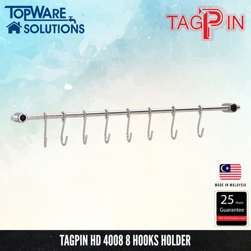 TAGPIN HD 4008 Hooks Holder ( 8 Hooks ), Bathroom Accessories, Tagpin - Topware Solutions