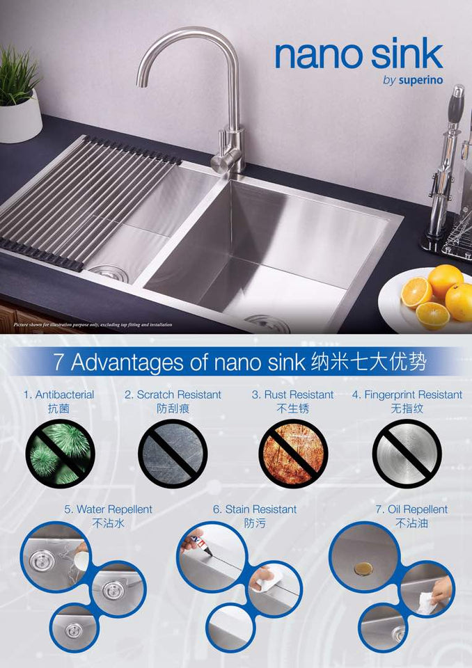 SUPERINO SUS304 Stainless Steel NANO Sink SAW38850-N, Kitchen Sinks, SUPERINO - Topware Solutions