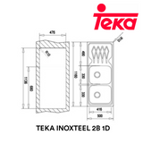 TEKA Stainless Steel Sink Inoxteel 2B 1D Kitchen Sinks TEKA - Topware Solutions