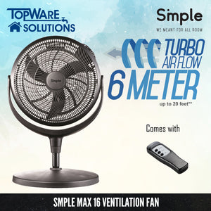 SMPLE MAX 16 Ventilation Fan (Turbo Airflow 6 Meter), Ventilation, SMPLE - Topware Solutions