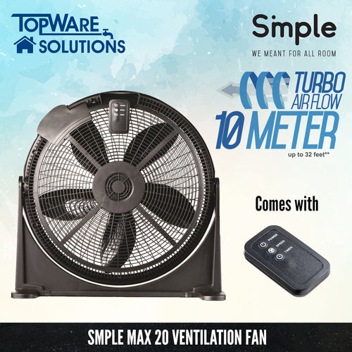 SMPLE MAX 20 Ventilation Fan (Turbo Airflow 10 Meter), Ventilation, SMPLE - Topware Solutions