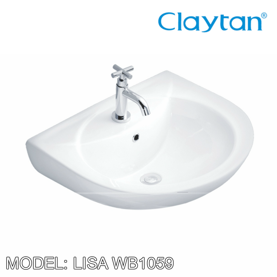 CLAYTAN Lisa Wall Hung Basin WB1059, Bathroom Basins, CLAYTAN - Topware Solutions