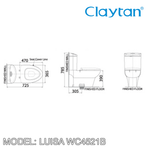 CLAYTAN Luisa Elongated Close Couple Pan WC4521B, Bathroom W.Cs, CLAYTAN - Topware Solutions