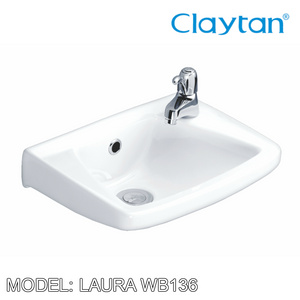 CLAYTAN Laura Wall Hung Basin WB136, Bathroom Basins, CLAYTAN - Topware Solutions
