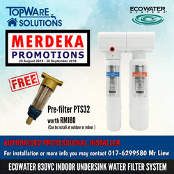 [MERDEKA PROMO] ECOWATER 830VC Healthy Drinking Water Filter System with FREE Pre-Filter PTS32