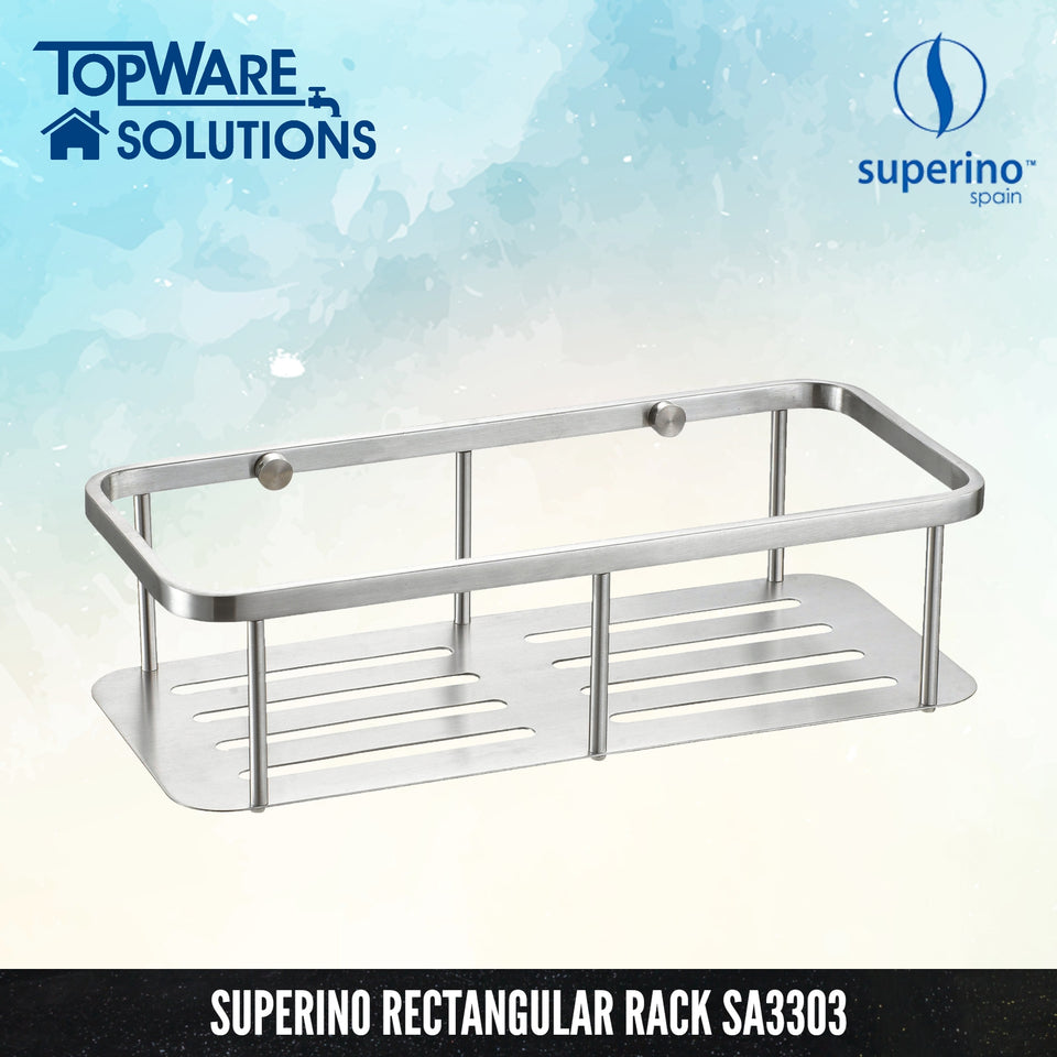 SUPERINO Rectangular Rack SA3303 [SUS304 Stainless Steel], Bathroom Accessories, SUPERINO - Topware Solutions