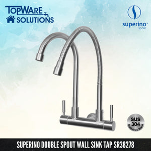 SUPERINO Double Spout Wall Sink Tap SR38278, Kitchen Faucets, SUPERINO - Topware Solutions