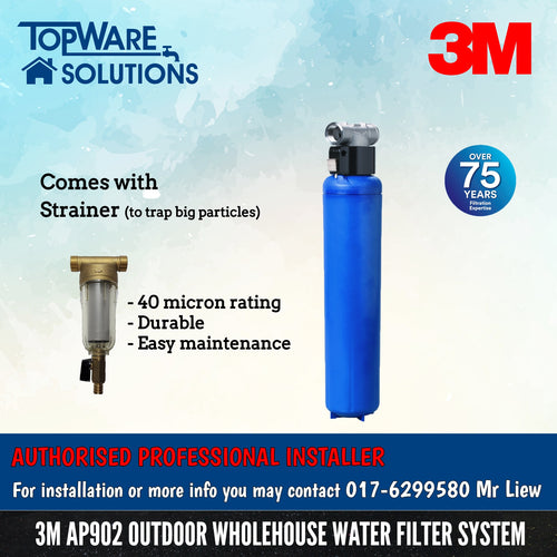 3M AP902 Outdoor Whole House Water Filter System with Free Strainer