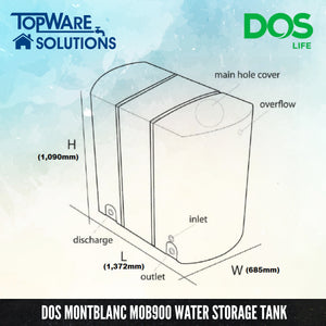 DOS Montblanc MOB900 Storage Water Tank, Water Tank, DELUXE - Topware Solutions