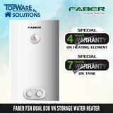 FABER FSH Dual D30 VH Storage Water Heater, Storage Water Heater, FABER - Topware Solutions