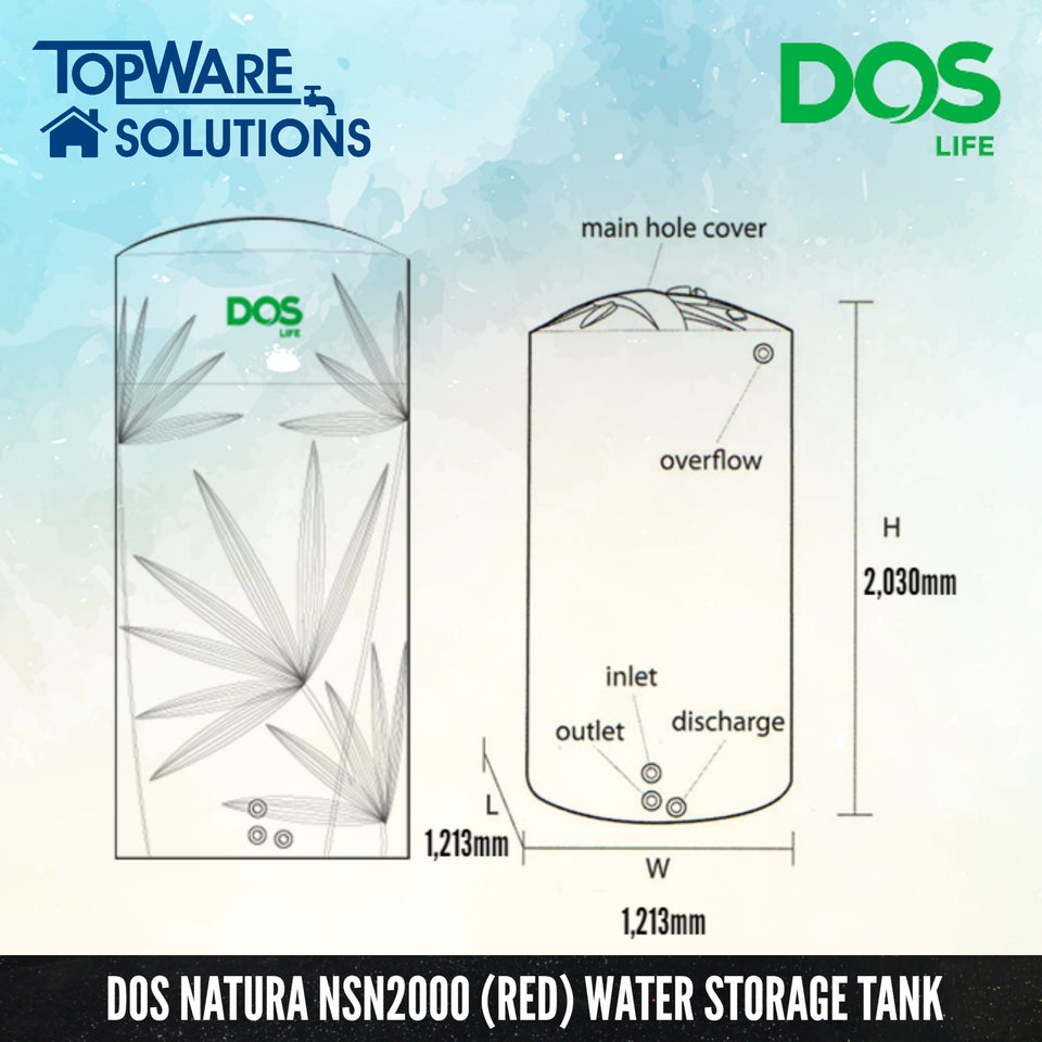 DOS Natura NSN2000 (Red), Water Tank, DELUXE - Topware Solutions