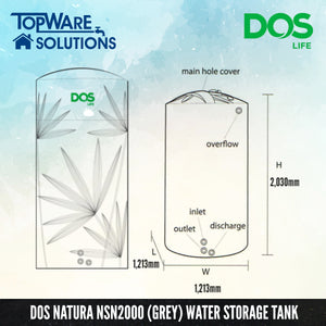 DOS Natura NSN2000 (Grey), Water Tank, DELUXE - Topware Solutions