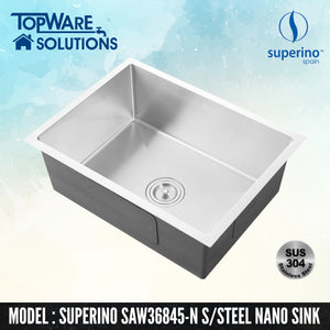 SUPERINO SUS304 Stainless Steel NANO Sink SAW36845-N, Kitchen Sinks, SUPERINO - Topware Solutions