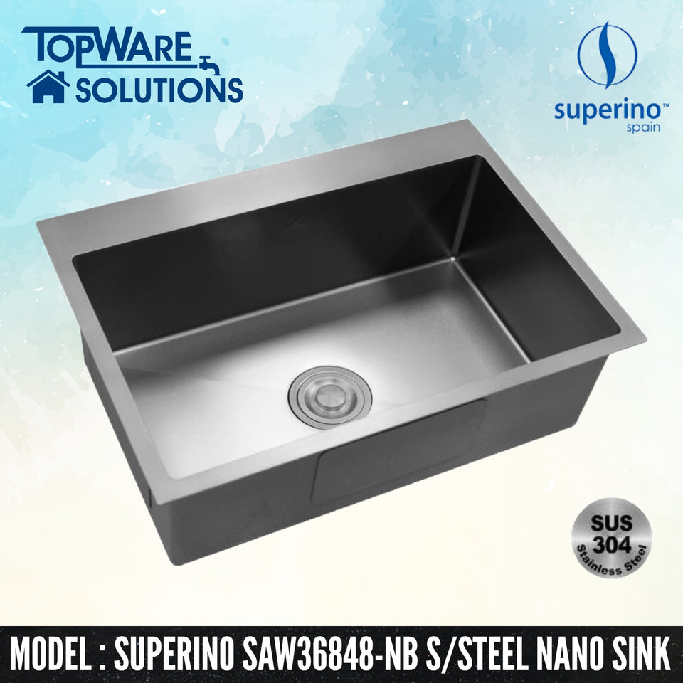 SUPERINO SUS304 Stainless Steel NANO BLACK Sink SAW36848-NB