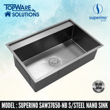 SUPERINO SUS304 Stainless Steel NANO BLACK Sink SAW37650-NB