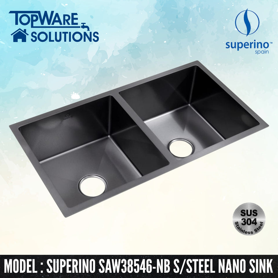 SUPERINO SUS304 Stainless Steel NANO BLACK Sink SAW38546-NB, Kitchen Sinks, SUPERINO - Topware Solutions