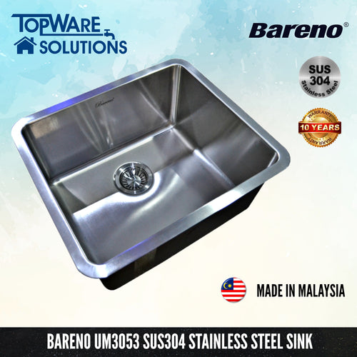 BARENO Kitchen Sink UM3053 Undermount SUS304 with 10 Year Warranty with 1.5 Thickness, Kitchen Sinks, BARENO - Topware Solutions