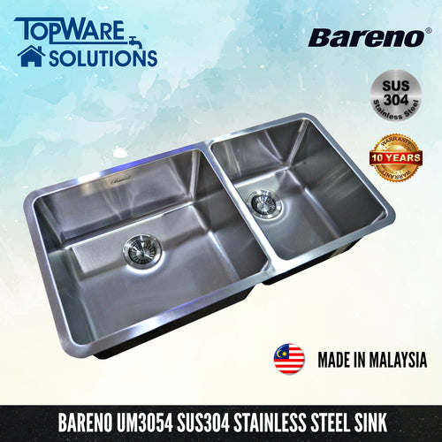 BARENO Kitchen Sink UM3054 Undermount SUS304 with 10 Year Warranty with 1.5 Thickness, Kitchen Sinks, BARENO - Topware Solutions