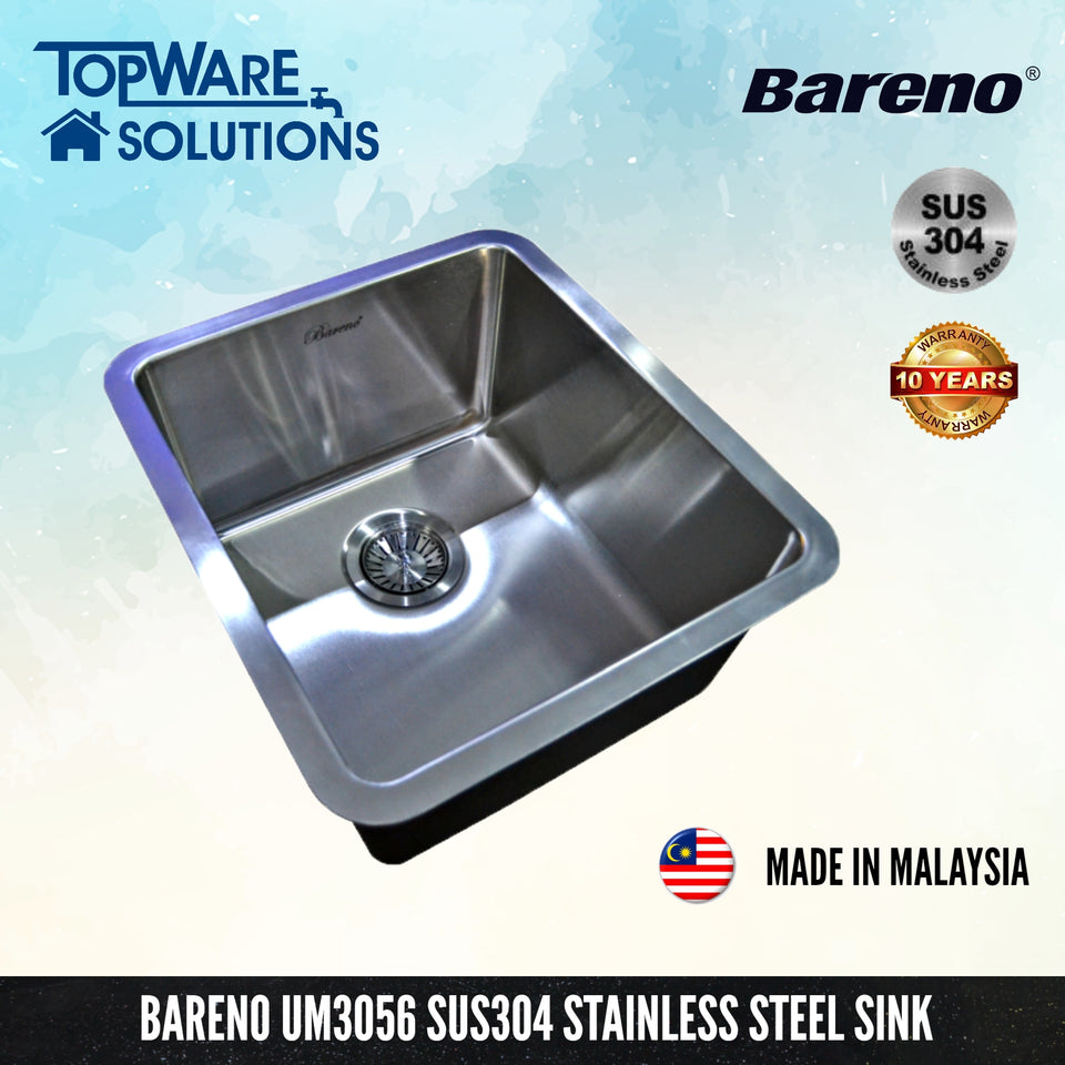 BARENO Kitchen Sink UM3056 Undermount SUS304 with 10 Year Warranty with 1.5 Thickness, Kitchen Sinks, BARENO - Topware Solutions