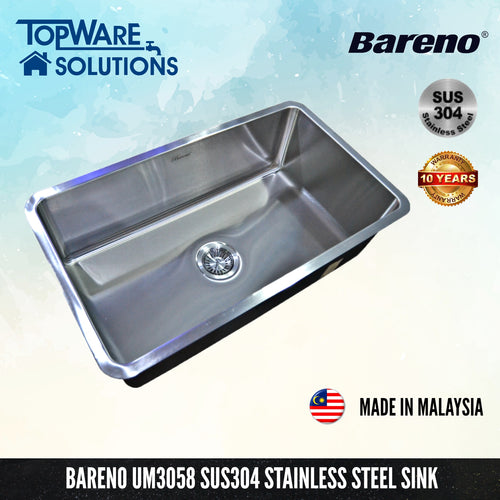 BARENO Kitchen Sink UM3058 Undermount SUS304 with 10 Year Warranty with 1.5 Thickness, Kitchen Sinks, BARENO - Topware Solutions