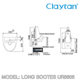 CLAYTAN Long Bootes Wall Hung Urinal UR5605, Bathroom Urinals, CLAYTAN - Topware Solutions