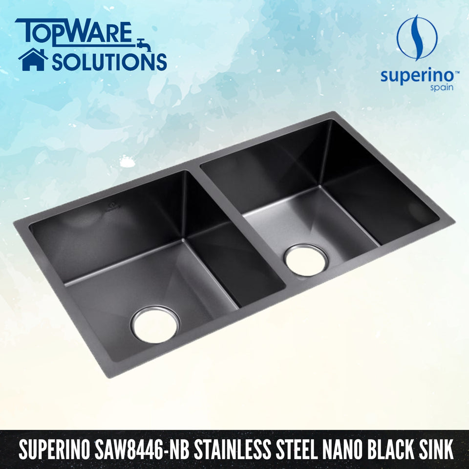 SUPERINO Stainless Steel NANO BLACK Sink SAW8446-NB, Kitchen Sinks, SUPERINO - Topware Solutions
