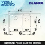 BLANCO Naya 8 Silgranit™ PuraDur™ Granite Sink, Kitchen Sinks, BLANCO - Topware Solutions