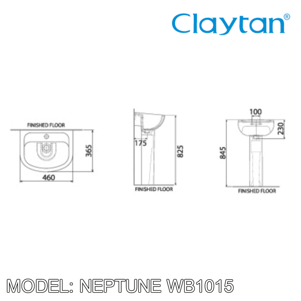 CLAYTAN Neptune Wall Hung Basin WB1015, Bathroom Basins, CLAYTAN - Topware Solutions