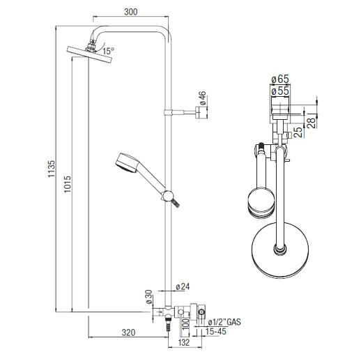 NOBILI Shower Post PLUS PL00140/30CR, Bathroom Shower Set, BARENO by NOBILI - Topware Solutions