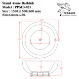 PEGASUS Stand Alone Bathtub PPMB-021, Bathtubs, PEGASUS - Topware Solutions
