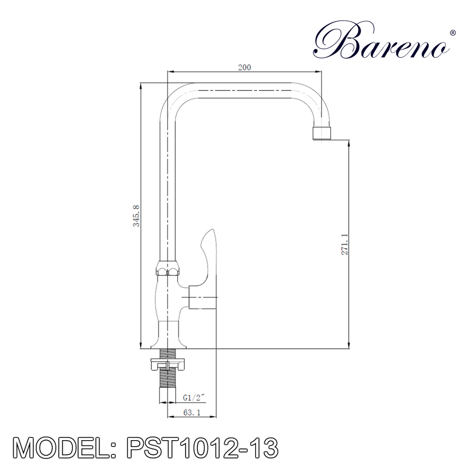BARENO PLUS Pillar Sink Tap PST1012-13, Kitchen Faucets, BARENO PLUS - Topware Solutions
