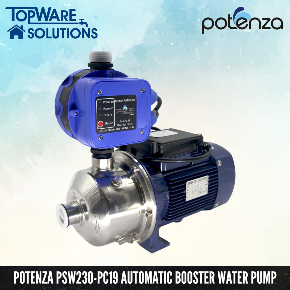 POTENZA PSW2-30/037 + PC19 Water Booster Pump With 2 Year Warranty, Water Pumps, POTENZA - Topware Solutions
