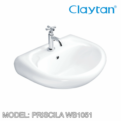 CLAYTAN Priscila Wall Hung Basin WB1051, Bathroom Basins, CLAYTAN - Topware Solutions