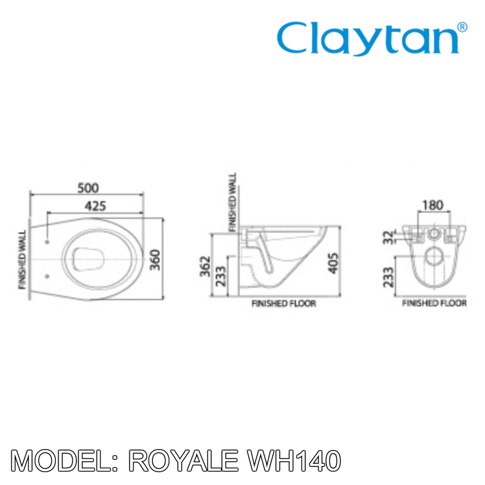 CLAYTAN Royale Wall Hung Pan WH140, Bathroom W.Cs, CLAYTAN - Topware Solutions