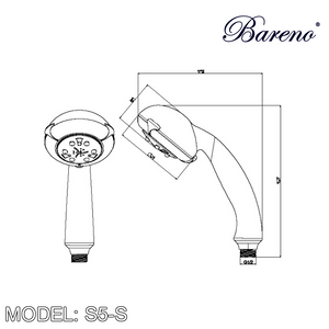 BARENO PLUS Hand Shower S5-S, Bathroom Faucets, BARENO PLUS - Topware Solutions