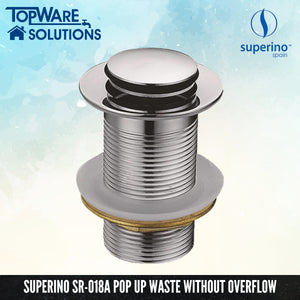 SUPERINO Pop Up Waste SR-018A Without Overflow, Bathroom Accessories, SUPERINO - Topware Solutions