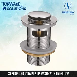 SUPERINO Pop Up Waste SR-019A With Overflow, Bathroom Accessories, SUPERINO - Topware Solutions