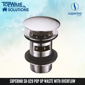 SUPERINO Pop Up Waste SR-029 With Overflow, Bathroom Accessories, SUPERINO - Topware Solutions