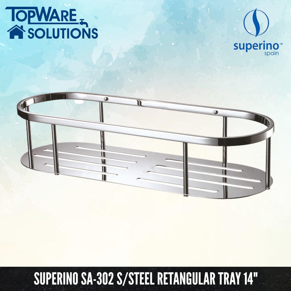 "SUPERINO SA-302 Stainless Steel Rectangular Tray 14"", Bathroom Accessories, SUPERINO - Topware Solutions"