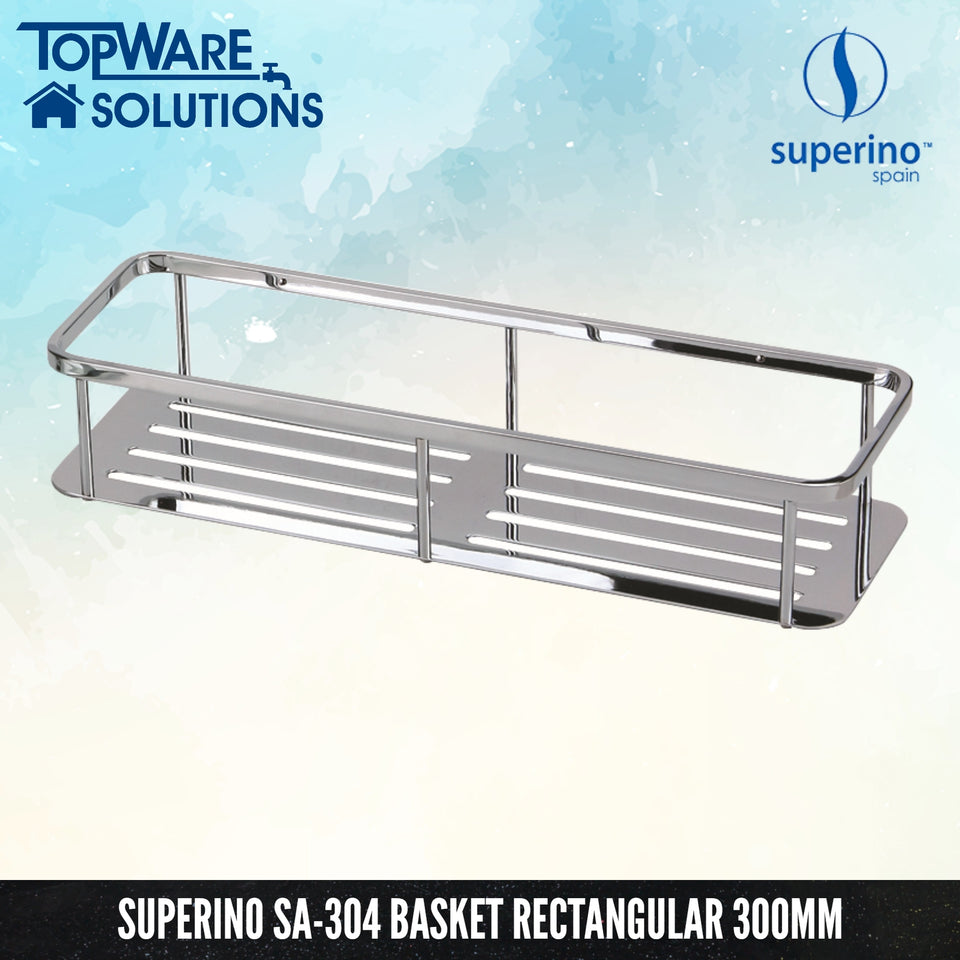 SUPERINO SA-304 Stainless Steel Rectangular Basket 400mm, Bathroom Accessories, SUPERINO - Topware Solutions