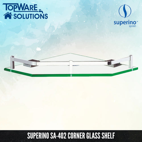 SUPERINO SA-402 Glass Shelf Corner 250mm, Bathroom Accessories, SUPERINO - Topware Solutions